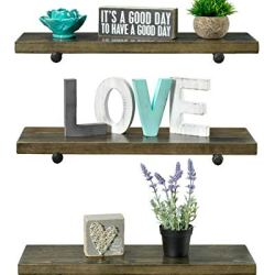 3 Tier Wood Shelves with Black Pipe Brackets (Walnut, 3 Tier)