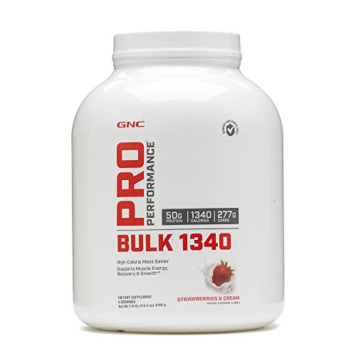 GNC Pro Performance Bulk 1340, Strawberries and Cream, 7 lbs, Supports Muscle Energy, Recovery and Growth