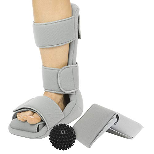 Vive Plantar Fasciitis Night Splint and Trigger Point Spike Ball - Soft Medical Leg Brace Support - Orthopedic Immobilizer Stretch Boot for Heel Spur, Foot Pain, Achilles Inflammation, Soreness Relief