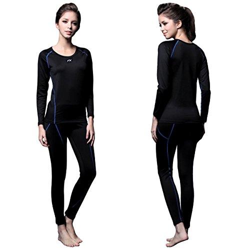 FITEXTREME Womens MAXHEAT Fleece Long Johns Thermal Underwear Set Black S