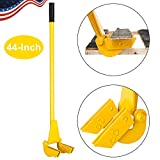 TUFFIOM 44-Inch Pallet Buster Tool with Extended Padded Handle & Free Nail Puller| Deluxe Industrial Pallet Breaker| Iron Pry Bar Deck Wrecker, Longer & Easier (Yellow)