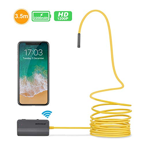 iPhone Endoscope, DEPSTECH Upgraded Semi-Rigid Wireless Borescope WiFi Inspection Camera 2.0 Megapixels HD 2200mAh Lithium Battery Snake Camera for Android and iOS Smartphone Tablet - Yellow 11.5FT