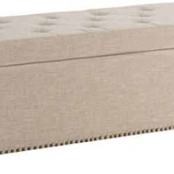 Simpli Home Hamilton 48 inch Wide Rectangle Lift Top Storage Ottoman in Upholstered Natural Tufted Linen Look Fabric with Large Storage Space for the Living Room, Entryway, Bedroom, Traditional