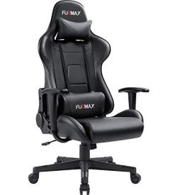 Furmax Gaming Office Chair Ergonomic High-Back Racing Style Adjustable Height Executive Computer Chair,PU Leather Swivel Desk Chair (Black)