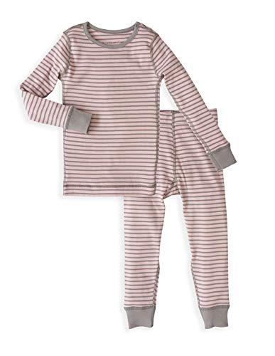 Girl's Kids Long Sleeve Pajama Set - 100% Soft Organic Turkish Cotton- Pink Grey Stripes for Sizes 6