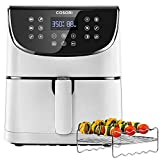 COSORI Air Fryer(100 Recipes,Rack & 5 Skewers),5.8QT Electric Hot Air Fryers Oven Oilless Cooker,11 Presets,Preheat& Shake Reminder,LED Touch Digital Screen,Nonstick Basket,1700W,White