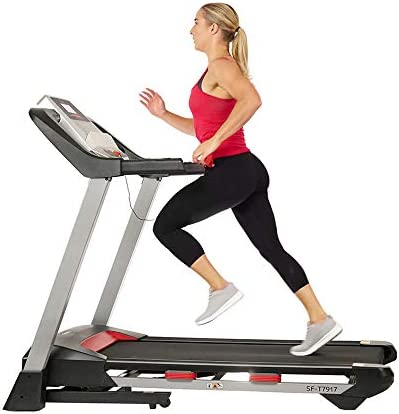 Sunny Health & Fitness Electric Folding Treadmill with LCD and Pulse Monitor, 265 LB Max Weight, Device Holder, Bluetooth Speakers and USB Charging – SF-T7917