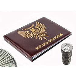 3in1 Coin Holder Album 180 Pockets - Paper Money Collection 10 Pockets - Large Storage Book for Collectors and Great for Gold Silver Dollars Dollar Bill Currency Quarters Penny Foreign Coins - Brown