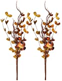 Red Co. Artificial Mixed Fall Floral Pick, Decorative Faux Flower Arrangements for Home & Garden Décor, Set of 2, 11 Inches
