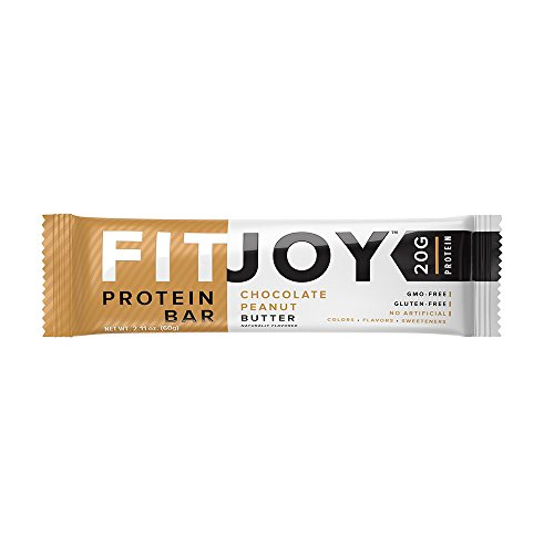 FitJoy Protein Bars Low Carb Low Sugar, Gluten Free High Protein Snacks, Chocolate Peanut Butter, 12 Bars