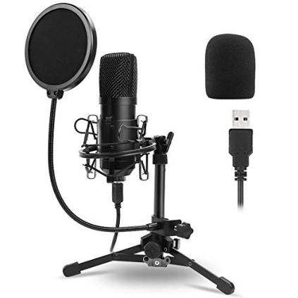 USB-Microphone-Kit-192KHZ24BITTripod-Stand-Pop-Filter-for-StreamingFifine-Metal-Condenser-Recording-Microphone-Laptop-MAC-or-Windows-Cardioid-Studio-Recording-VocalsSkype-Youtuber-Gaming-Recordi