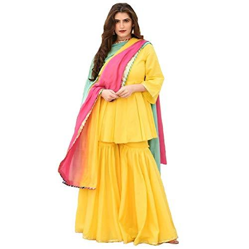 Monika Silk Mill Women's Cotton Semi-stitched Salwar Suit (Style999_yellow_Yellow_XX-Large)