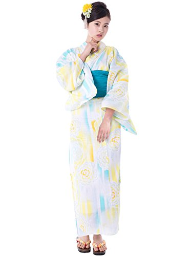 KYOETSU Women's Elegance Yukata 3 Piece Set (Yukata/Obi/Geta sandals) (XX-Small (Japan Size S), FM-16(Obi Turquoise))
