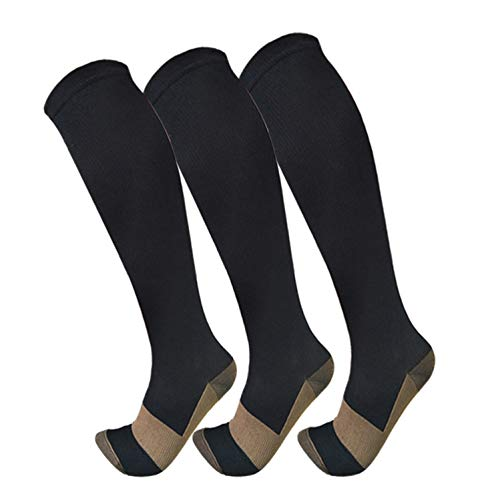 Copper Compression Socks For Men & Women(3 Pairs)- Best For Running,Athletic,Medical,Pregnancy and Travel -15-20mmHg (L/XL, Black)