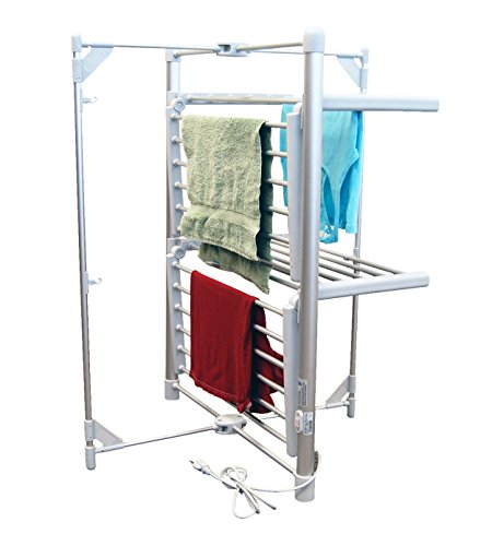LCM Home Fashions 2-Tier Heated Drying Rack Tower Warmer