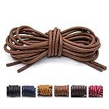 Handshop Waxed Boot Shoelaces, Cotton Round Shoe Laces for Dress Shoes, Light Brown 47.3 inch (120 cm), 2Pair