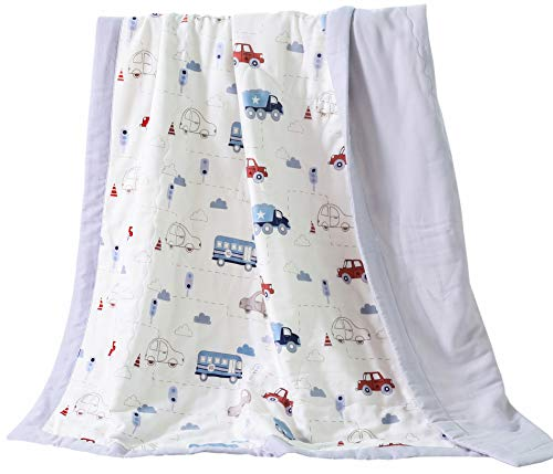 J-pinno Cars Bus Truck Cute Muslin Quilt Blanket Bedding Coverlet Twin, 100% Cotton, Comforter Bedspread Throw Blanket for Kid's Boys Girls Bedroom Decoration Gift (4, Twin 59' X 78')