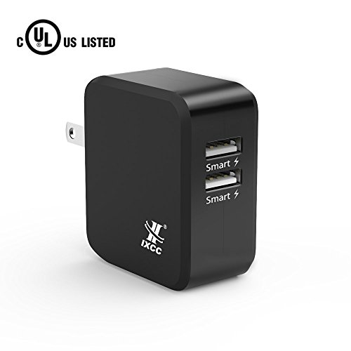 iXCC UL Certified 2 Port Wall Charger, 24W/4.8A Optimal Dual USB Charging Port Universal Charger Adapter for iPhone 7 / 6s Plus, iPad Air Mini 3, Galaxy S Note Series, LG, Nexus, HTC and More - Black