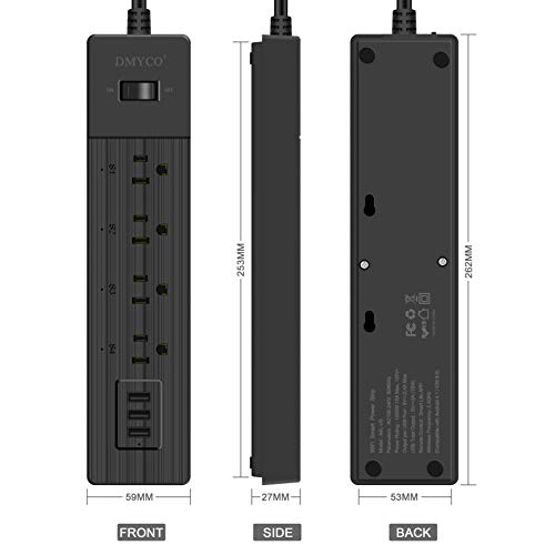 WiFi-Smart-Power-StripMultiple-Outlet-Surge-Protector-USB-Barwith-3-USB-Ports-4-Smart-Outlets-Overload-Switch-and-6FT-UL-Cord-Remote-Control-Compatible-with-Alexa-Echo-Google-Home-and-IFTTT