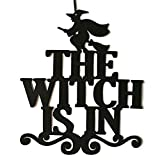 Hot Sale!DEESEE(TM)The Witch Is In Halloween Hanging Sign Door Hanging Halloween Decoration (A)