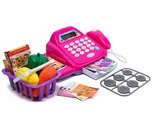 417zWKDcFEL - Toys N Smile Cash Register Pretend Play Toy with Basket Including Vegetables, Credit Card, Scanner (Multi Colour)