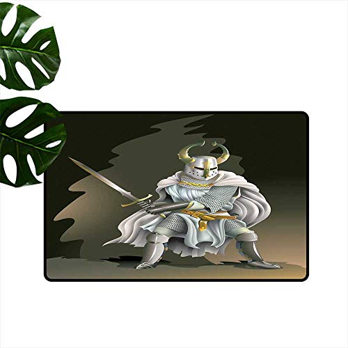 Anzhutwelve Medieval Decor,Rubber Door mat Illustration of Heavy Armored Knight of Kingdom Empire in The Past Times Culture Outside Door mats W 20' x L 31'