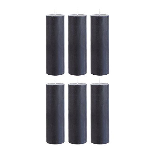 "Mega Candles - Unscented 2"" x 6"" Hand Poured Round Premium Pillar Candle - Black, Set of 6"