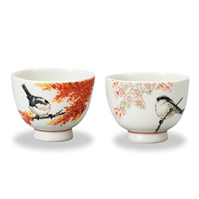 "Japanese drawn Ceramic Porcelain kutani ware. Japanese 2 sake cups set guinomi with wooden box. Spring and autumn."" Japanese ceramic Hagiyakiya 705"