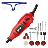 SPTA 110V 130W Variable Speed Electric Rotary Tool, Mini Drill with Safety Glasses and 15Pcs Accessories, for Cutting, Engraving, Grinding, Sanding