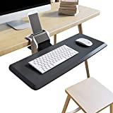 Clamp On Keyboard Tray Adjustable Angle and Height with Cellphone Holder Stand Easy Installation No Need to Drill & Screw, Not Sliding Under The Desk or Counter, Ergonomic Design Anti Slip Wrist Rest