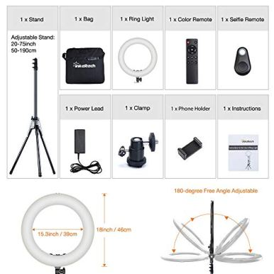 Inkeltech-Ring-Light-18-inch-2700K-5600K-Dimmable-Bi-Color-Light-Ring-60W-LED-Ring-Light-with-Stand-Lighting-Kit-for-Vlog-Selfie-Makeup-YouTube-Camera-Phone-LCD-Screen-Remote-Control