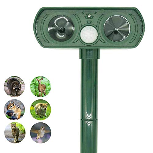 ZOVENCHI Ultrasonic Animal Repeller, Solar Powered Repeller with Motion Sensor Ultrasonic and Red Flashing Lights Outdoor Waterproof Farm Garden Yard, Repel Cats, Dogs, Foxes, Birds, Skunk, Rod