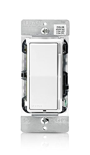 Leviton DSL06-1LZ Decora Slide Dimmer for 300-Watt Dimmable LED, 600-Watt Incandescent/Halogen, White w/Color Change Kits Included
