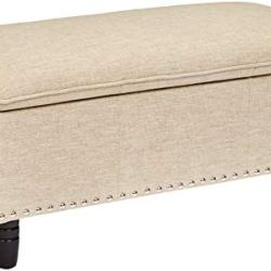 First Hill Genova Fabric-Upholstery Pillow-Top Storage Ottoman Bench, Breezy Beige