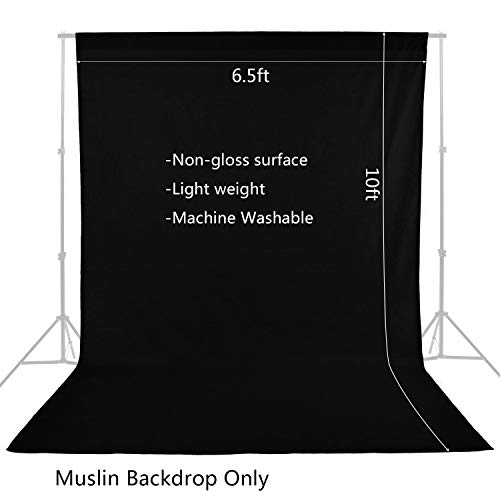 6.5ft x 10ft Professional Black White Green Studio Chromakey Muslin Backdrop for Photo Video Photography Studio Surface Fabric Background Screen by MOUNTDOG (Stand NOT Included)