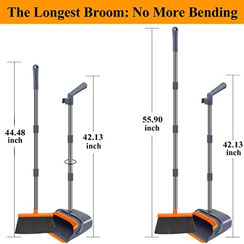 Kelamayi 2021 Upgrade Broom and Dustpan Set, Large Size and Stiff Broom Dust pan with 55.9 inch Long Handle, Upright Dustpan Broom Set Ideal for Indoor Outdoor Garage Kitchen Room Office Lobby Use