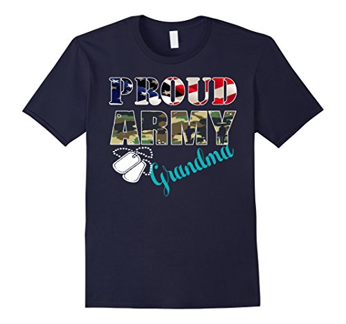 a11790fd2 ... Mens Womens Proud Army Grandma With American Flag T Shirt 2XL Navy