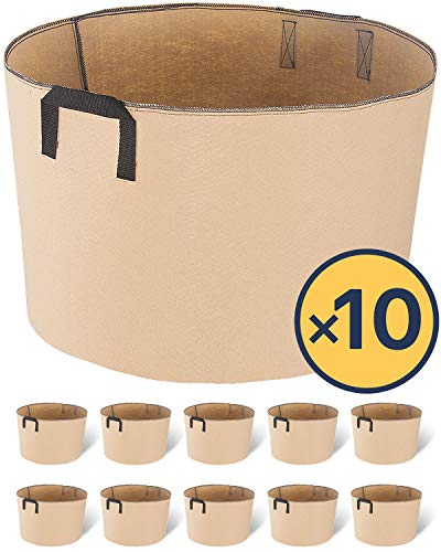 iPower 20-Gallon 10-Pack Grow Bags Fabric Aeration Pots Container with Strap Handles for Nursery Garden and Planting(Tan)