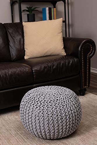 chunky knit pouf - modern boho living room - grey pouf