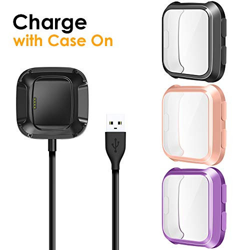 EZCO Compatible Fitbit Versa Screen Protector Plus Charger [3+1 Pack], Exclusive Charging Dock Cable (Can Charge Case On) Soft TPU Full Coverage Case Cover Bumper Compatible Fitbit Versa Smart Watch