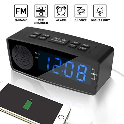 Clock Radio, Digital FM Alarm Radio Clock with USB Charging Port,LED Display, Dimmer, Sleep Timer, Snooze Battery Backup for Bedrooms,Bedside, Desk, Shelf