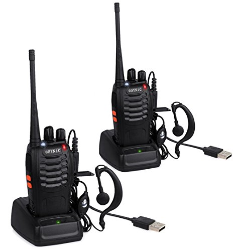 eSynic Rechargeable Walkie Talkies with Earpieces 2 pcs Long Range Two-Way Radio 16 Channel UHF USB Cable Charging walky Talky Handheld Transceiver with Flashlight