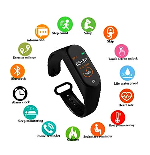 SBA999 ABM403 M4 Bluetooth Wireless Smart Fitness Band for Boys/Men/Kids/Women | Sports Watch Compatible with Xiaomi, Oppo, Vivo Mobile Phone | Heart Rate and BP Monitor, Calories Counter 1