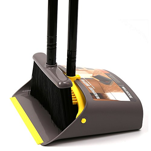 TreeLen Dust Pan and Broom/Dustpan Cleans Broom Combo with 40'/54' Long Handle for Home Kitchen Room Office Lobby Floor Use Upright Stand up Dustpan Broom Set