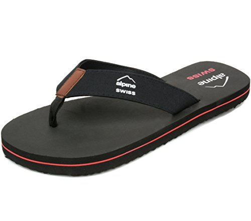alpine swiss Mens Flip Flops Beach Sandals EVA Sole Comfort Thongs Black 11 M US