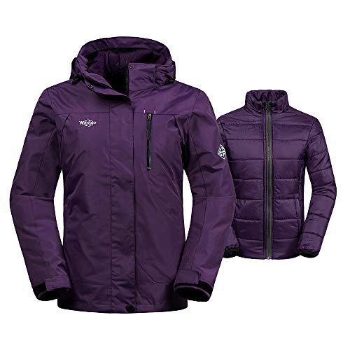 Wantdo Womens Windproof 3-in-1 Ski Jacket Waterproof Windbreaker with Detachable Puffer Liner Insulated Winter Coat for Skiing,Light Purple,X-Large