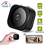 WiFi Hidden Spy Camera, Mini HD 1080P Wireless Security Indoor Nanny Surveillance Cam with Motion Detection, Cloud Storage, Night Vision, Live Remote Monitoring for iOS/Android Mobile Phone