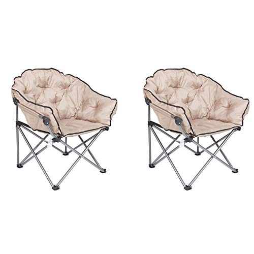 Mac Sports Foldable Padded Outdoor Club Camping Chair with Carry Bag, Beige (2 Pack)