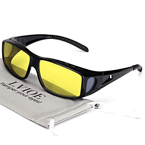 LVIOE Wrap Around Style Polarized Night Vision Driving Glasses to Fit Over Regular Prescription Glasses (Matte black, Yellow)