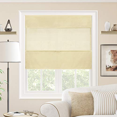 CHICOLOGY Cordless Magnetic Roman Shades Privacy Fabric Window Blind, 39' W X 64' H, Daily Canvas (Light Filtering)